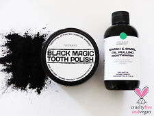 ACTIVATED CHARCOAL POWDER TOOTH POLISH + CHARCOAL OIL PULLING MOUTHWASH * VEGAN