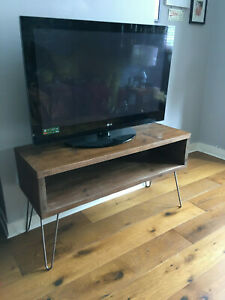 RUSTIC TV STAND VINTAGE CUSTOM MADE RECLAIMED WOOD SCAFFOLD HAIR PIN STEEL LEGS