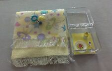 Dollhouse Miniature / 2 Yellow baby blankets w/toys & baby dish with sippy cup