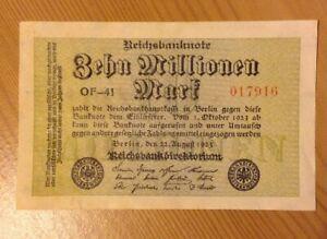 German Vintage Banknote. 10 Million Mark. Dated 1923. Reichsbanknote. Germany.