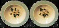 """Lifetime China Turquoise Magnolia Berry Bowls 6"""" Cavalier Fruit Set 2 Excellent"""