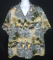 Aloha Republic Hawaiian Shirt Mens 2XL Short Sleeve Button Front Floral Sailing