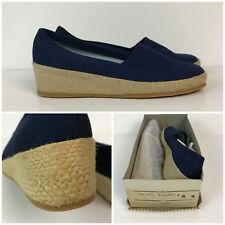 CHOOSE SIZE Vintage NOS 1960s Blue Canvas Slip On Rope Wedge Heel Shoes