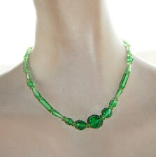Vintage Peridot Green Glass Necklace • 16 inch • Faceted Graduated Beads