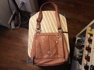 Fossil Tan Brown Pebble Leather Crossbody Messenger Shoulder Bag Purse