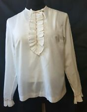 Vintage Bobbie Brooks Cotton Button Back Blouse pin tuck ruffle S embroidery