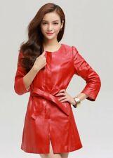 Women's Stylish Lambskin Leather Dress Party Club Wear Red Mini Sexy Dresses