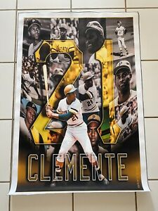 Roberto Clemente Poster 38 x 26 Pittsburgh Pirates canvas material