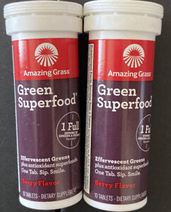 Lot Of 2 Amazing Grass Green Superfood Effervescent Tablets, Berry, Exp *03/21*