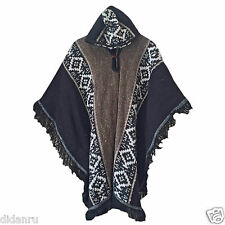 DARK LLAMA WOOL MENS UNISEX PONCHO CAPE COAT JACKET CLOAK HANDWOVEN IN ECUADOR