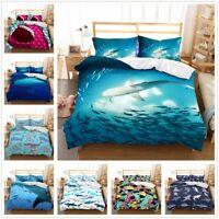 3D Cartoon Shark Fish Kids Bedding Set Quilt Cover Duvet/Doona Cover Pillowcase