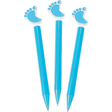Lot of 12 Baby Boy Blue Plastic Baby Feet Pens Shower Party Favors
