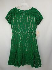 NWT GB GIRLS sz 16 green lace dress with gold lining