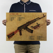 vintage ak-47 structure schematic wall sticker sitting room kraft wall stickervb