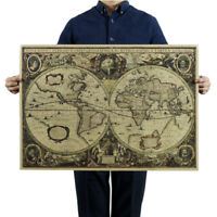 Retro World Map Nautical Ocean Map Vintage Kraft Paper Poster Wall Decor M SL