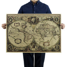 Retro World Map Nautical Ocean Map Vintage Kraft Paper Poster Wall Decor FR