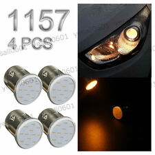 4x Amber Yellow 1157 BAY15D 12 Chips COB LED Turn Signal Tail Rear Light Bulb