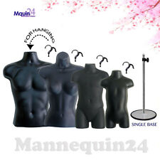 4 Torso Mannequins Male Female Child Toddler Body Dress Forms +4 Hooks +1 Stand