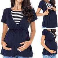 Women Maternity Nursing Tops Summer Stripe Splice Short Sleeve Tee Shirt Blouse