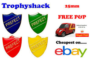 Prefect Shield Enamel Badges - Free P&P 4 colours Red Blue Green Yellow