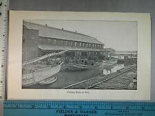 Rare Antique Original VTG Fishing Boats At Lake Erie Photogravure Art Print