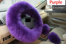 Long Plush Car Steering Wheel Cover Kit Warm Woolen Handbrake Accessory Colorful