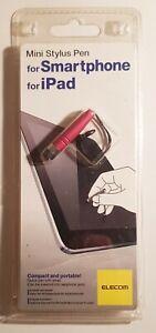 MINI STYLUS PEN für SmartPhone iPad ELECOM Befestigungsband Touch-Screen Rot NEU
