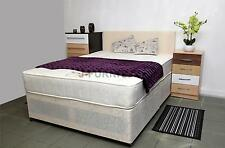 "4ft6 Double Divan Bed Base Frame Real Orthopaedic 10"" Mattress Headboard"