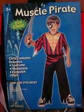 MUSCLE PIRATE youth costume Halloween NWT eye-patch & built-in muscles