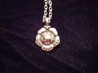 Georg Jensen Sterling Silver Floral Pendant 2002  Necklace with GJ Chain
