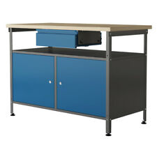 Werkstatt Werkbank Arbeitstisch Werktisch Packtisch Metall Holz 2 Türen V2Aox