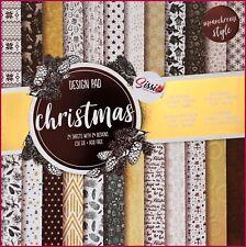 Maxi bloc 24 pages marron doré gold blanc fetes hiver 30x30cm 230 gsm cardstock