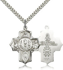 "Men On 24"" Chain - 30 Day Mo. .925 Sterling Silver Four Way Cross Necklace For"