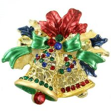 Pin Multi Stone Crystal Gold Tone Holy Christmas Two Jingle Bells Charm Brooch