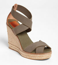 NEW TORY BURCH Adonis Wedge Espadrille US 11 Olive Elastic/Almond Leather Sandal