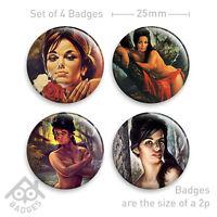 "J H LYNCH Tina Nymph Lisa Rose Kitsch Retro Prints - 1"" Badge x4 Badges NEW"