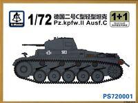 S-Model 1/72 720001 WWII German Pz.Kpfw.II Ausf.C Light Tank (2 Tanks per Box)