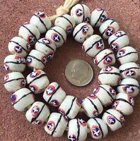 32 Ghana handmade Recycled glass Round White multi African trade beads