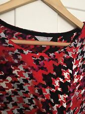 BNWOT Ladies M&S PER UNA Stretch midi Dress Red Black Houndstooth Print Size 10