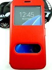 Etui Housse Coque Pochette View Case Rouge pour Samsung Galaxy S7 Edge
