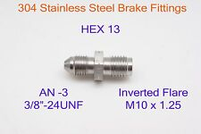 AN3 to M10x1.25 Inverted Flare Stainless Brake Fittings Adapter 3/8x24-UNF