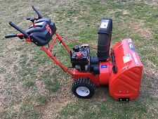 "Troy Bilt Storm Two Stage 5.5 HP Snow Blower Thrower 24"" Electric Start Tecumseh"