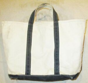 VINTAGE L L BEAN CANVAS INDIGO DYED BLUE & IVORY LARGE TOTE BAG WITH EXTENSION