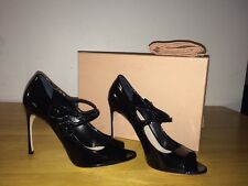 $750 MIU MIU PRADA Black Patent Leather  MARYJANE  Heel  Pumps size 8,5/39,5