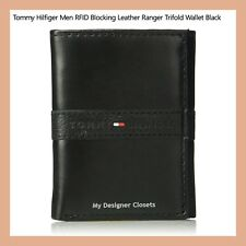 Tommy Hilfiger Men's RFID Blocking Black Leather Ranger Trifold Wallet Gift MDC