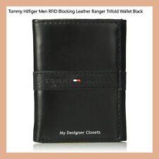 New Tommy Hilfiger Men's RFID Blocking Black Leather Ranger Trifold Wallet