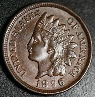 1896 INDIAN HEAD CENT - AU UNC - With REPUNCHED DATE *SNOW-25* RPD