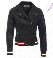 Womens Faux Leather Biker Jacket Ladies Bomber Black Size 6 8 10 12 14