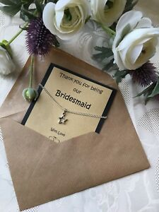 Thank You for Being  my Bridesmaid,Flower Girl,Matron etc?Lovely Necklace gift..