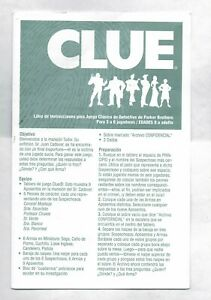 Clue Replacement Spanish Instructions Manual